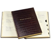Luxe Tabbed Wine Journal in Croco-Brown Calfskin Leather by Graphic Image - 7x9.5