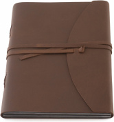 INDIARY Photo Album Scrapbook Made of Genuine Buffalo Leather and Handmade Paper - Simple and Noble - WILD-33cm x 25cm -brown