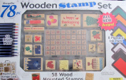 "MessageStor WOODEN STAMP Set ""HOLIDAYS"" 78 Pieces w 58 WOOD Mounted STAMPERS, 8 INK PADS, See Thru aluminium STORAGE CASE & More"