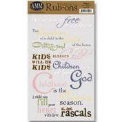 Die Cuts With A View Rub-On Words Stack, 3.8cm by 16cm , Kids