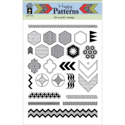 Hot Off The Press Acrylic Stamps 15cm x 20cm Sheet-Happy Patterns