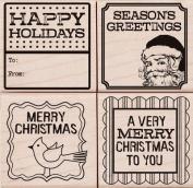 Hero Arts Holiday Wood Stamp Set 4-Pack