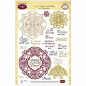 JustRite Papercraft Clear Stamp Set 15cm x 20cm -Lace Vintage Labels 3 22pcs