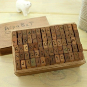 Wooden Rubber Stamp Box - Vintage Style -Diary Stamps 70 Pcs Number Stamp Letter and Number Stamp Set