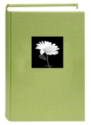Deluxe Cloth Fabric Photo Album 4x6 300 Plastic Slip-in Pockets with Memo Space and Front Cover Theme Frame. Sage Green