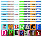 10-Pack of Embrace Diversity 7.6cm x 23cm Bumper Stickers