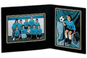 SYCAMORE Mixed Double 7x5/5x7 MEMORY MATES Black cardstock double photo frame / gold border sold in 10's - 5x7