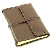 Rustic Ridge Leather Journal - Handmade - 13cm x 18cm - Dark Brown