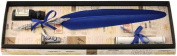 Blue Feather Quill, Ink & Pewter Pen Holder Set by Coles Calligraphy