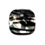 Silver - 14pc Smooth Acrylic Zebra Flatback Rounded Square Rhinestones