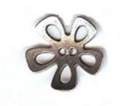 """Open Flower Petal Button. Antique Silver Finish - Size 3/4"""""""