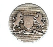 "Rampant Lion & Rampant Unicorn Heraldry Button. Antique Silver Finish, Size 7/8"""