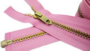 120cm Metal Jacket Zipper Talon (Special) #5 - Medium Weigh Brass Separating Colour Hot Pink