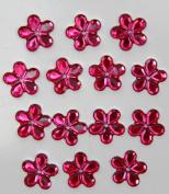 48-Piece Flat Back Acrylic FLOWER Rhinestones 18mm, Fuchsia