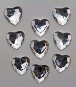 240-Piece Flat Back Acrylic HEART Rhinestones 8mm, Crystal Clear