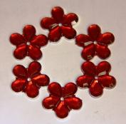 48-Piece Flat Back Acrylic FLOWER Rhinestones 18mm, Ruby Red