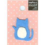 Blue Cat Design Small Iron-on Applique