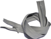 60cm Unique Invisible Zipper YKK #3 Conceal Heavy Duty Closed End - Medium Grey