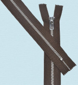 28cm Pants Aluminium Zipper ~ Talon #4.5 with Locking Slider - 474 Brown