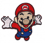 Mario flying in space in New Super Mario Bros Embroidered Iron On / Sew On Patch Applique