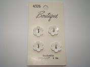 White Flower Buttons - Pkg. of 4