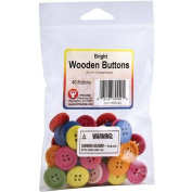 Bright Wooden Coloured Buttons-20mm 40/Pkg Assorted Colours