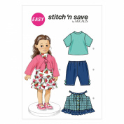 McCall Pattern Company M6777 46cm Doll Clothes Sewing Template, Size A
