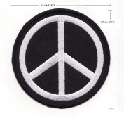 Peace Sign Symbol Black Embroidered Iron On Patch P3