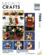 McCall's 7866 Crafts Sewing Pattern A Beary Christmas