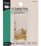 Dritz Safety Pins-Size 00 Brass 15/Pkg