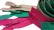 Sale 70cm Vislon Sport Jacket Zipper (Special) YKK #5 Moulded Plastic - Separating Colour Fuchsia Pink, Hunter Green and Bark Tan
