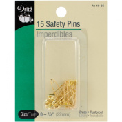 Dritz Safety Pins Size 0 Gilt 15pc