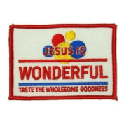 Jesus Wonder Logo Embroidered Iron on or Sew on Patch