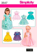Simplicity Sewing Pattern 3547 Doll Clothes, One Size