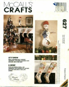 McCall's 627 Crafts Sewing Pattern Snowman Wall Hanging Ornaments Stocking Garland Tree Skirt