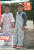 TODDLERS/CHILDRENS JUMPSUIT & TOP SIZE 1-2-3 VERY EASY SEE & SEW PATTERN 6464