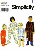 Simplicity 8493 Pattern Child's Sleepwear SizeBB 3,4,5,6