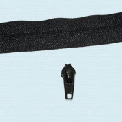 YKK Chain 2.5mm Nylon Coil Zipper with YKK #2.5 Zipper Sliders ~ Black