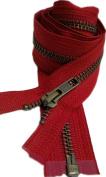 Sale 90cm Jacket Zipper (Special) YKK #5 Antique Brass Medium Weight Separating - Colour Hot Red 519