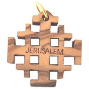 Olive wood Jerusalem Cross Laser Pendant