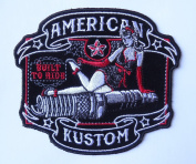 PIN UP GIRL SPARK PLUG EMBROIDERED 13cm BIKER PATCH