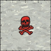 Skull & Crossbones Black on Red Embroidered Iron On Applique Patch 3.8cm