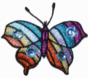 Hippie Multi Coloured Jewelled Butterfly Embroidered Iron On Patch