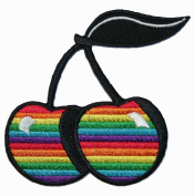 Rainbow Cherry Multi Colour Embroidered Iron On Patch