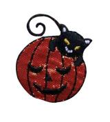 ID #0818 Black Cat Pumpkin Jack O Lantern Halloween Trick Treat Iron on Applique Patch
