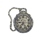 ID #3081 Pocket Watch Embroidered Iron On Applique Patch