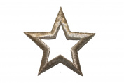 ID #3476 8.6cm Silver Star Outline Iron On Badge Applique Patch
