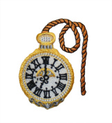 ID #3079 Pocket Watch Embroidered Iron On Applique Patch