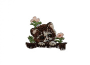 ID #3623 Cute Kitten In Flowers Cat Pet Iron On Badge Applique Patch