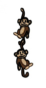 Pair of Monkeys Hanging Iron On Applique Patch K04